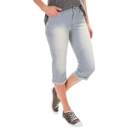 Stretch-Cotton Skimmer Capri Jeans (For Women) in White/Blue Stripe - 2nds