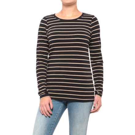 Stretch Cotton Striped Knit Tunic Shirt - Long Sleeve (For Women) in Black/Beige - 2nds