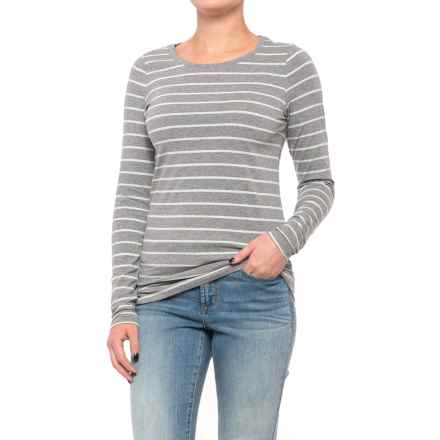 Stretch Cotton Striped Knit Tunic Shirt - Long Sleeve (For Women) in Grey/Mint - 2nds