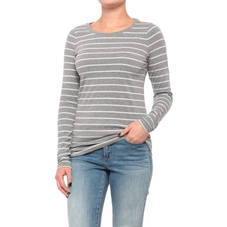 Stretch Cotton Striped Knit Tunic Shirt - Long Sleeve (For Women) in Grey/Mint