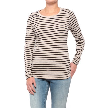 Stretch Cotton Striped Knit Tunic Shirt - Long Sleeve (For Women)