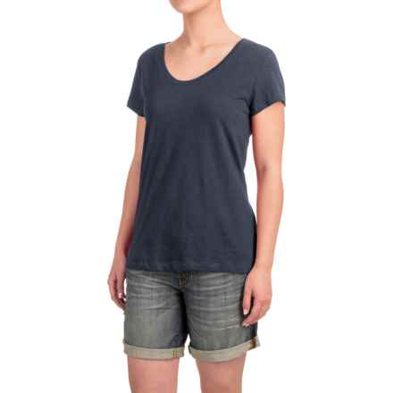 Stretch Cotton T-Shirt - Short Sleeve (For Women) in Charcoal Heather - Closeouts