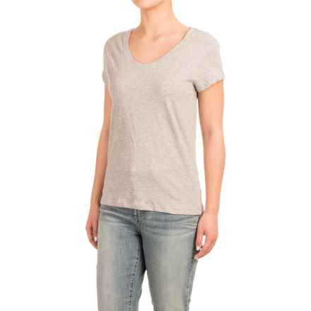 Stretch Cotton T-Shirt - Short Sleeve (For Women) in Light Grey Heather - Closeouts