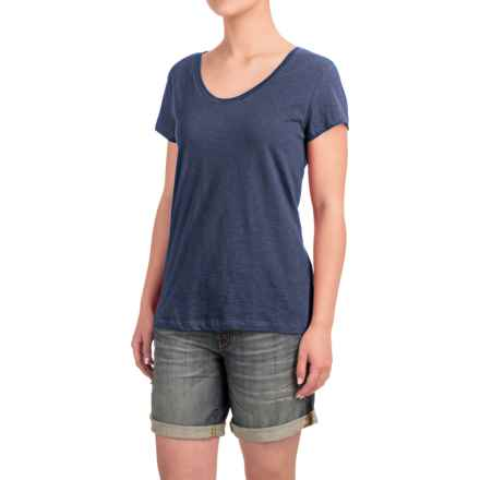 Stretch Cotton T-Shirt - Short Sleeve (For Women) in Navy Heather - Closeouts