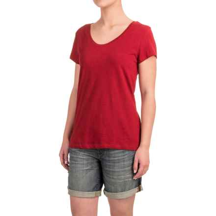 Stretch Cotton T-Shirt - Short Sleeve (For Women) in Red Heather - Closeouts