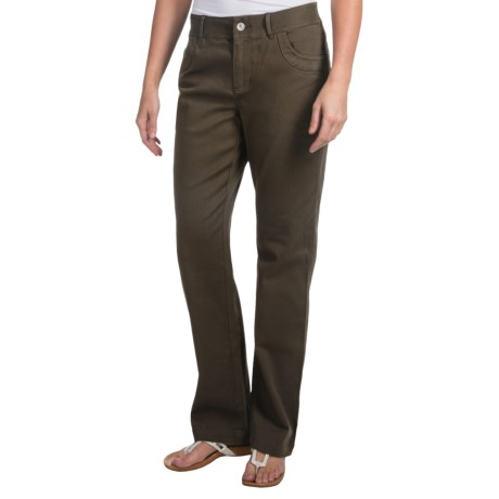 Stretch Cotton Twill Pants (For Women) in Olive