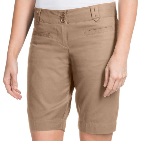 Stretch Cotton Twill Shorts (For Women) in Black