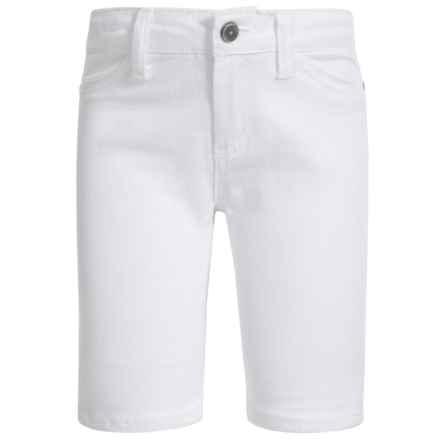 Stretch Denim Bermuda Shorts (For Little Girls) in White - Closeouts