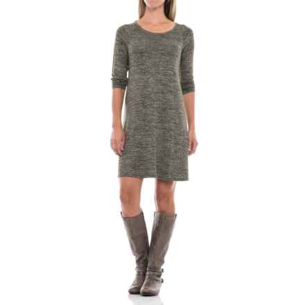 Stretch Jersey Raglan Dress - Long Sleeve (For Women) in Olive Heather - 2nds