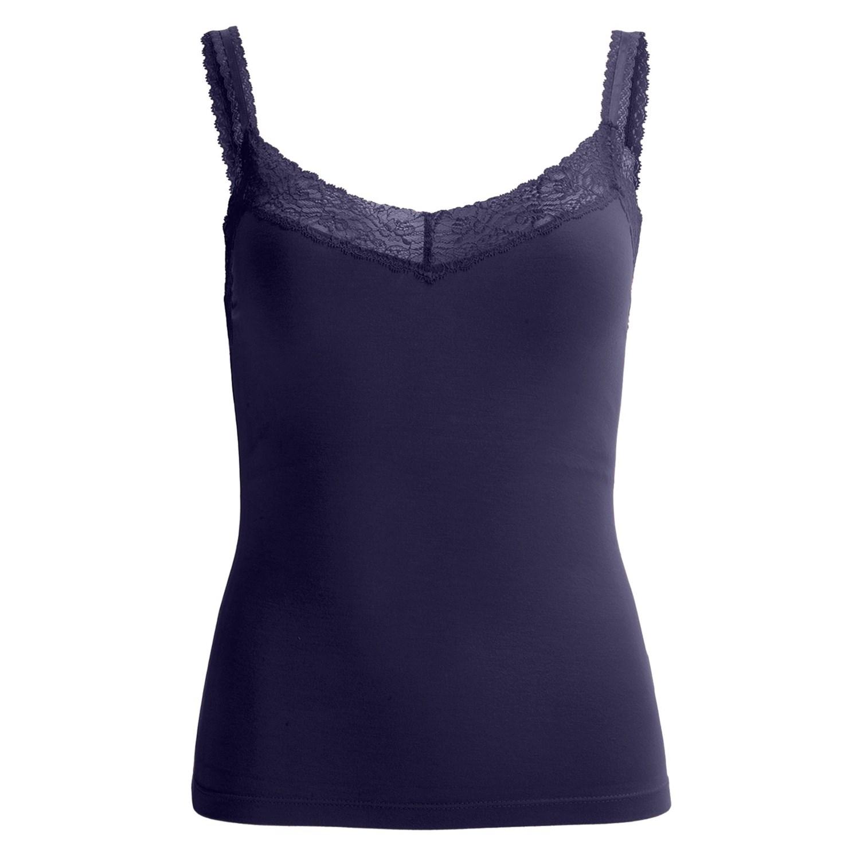 stretch lace trim tank top built in shelf bra for women. Black Bedroom Furniture Sets. Home Design Ideas