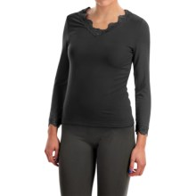 Stretch Modal Shirt - V-Neck, Long Sleeve (For Women) in Black - 2nds