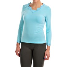Stretch Modal Shirt - V-Neck, Long Sleeve (For Women) in Blue - 2nds