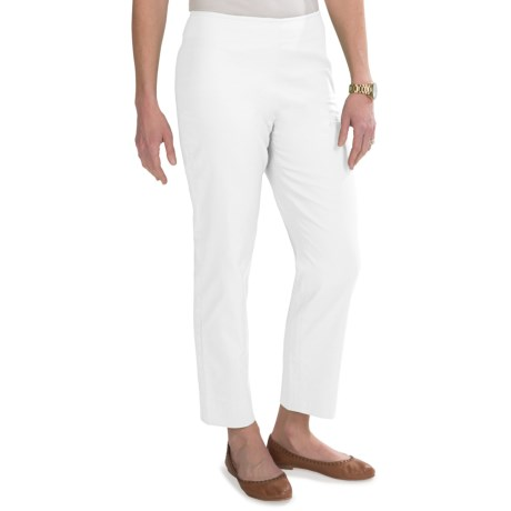 Stretch Pique Cotton Ankle Pants - Flat Front (For Women) in White