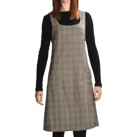 Stretch Plaid Jumper - Scoop Neck, Sleeveless (For Women) in Black/Cream