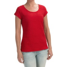 Stretch Puckered Shirt - Short Sleeve (For Women) in Red - 2nds