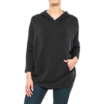 Stretch Rayon Hoodie Shirt - 3/4 Sleeve (For Women) in Black - 2nds
