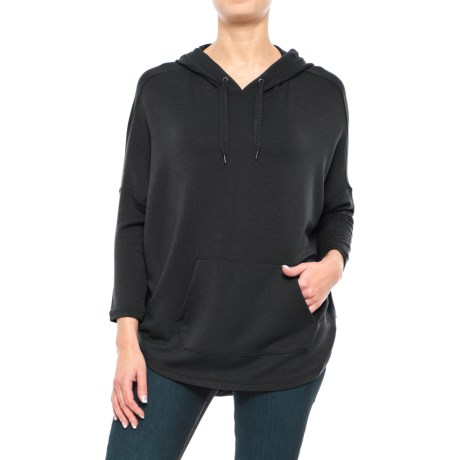 Stretch Rayon Hoodie Shirt - 3/4 Sleeve (For Women) in Black