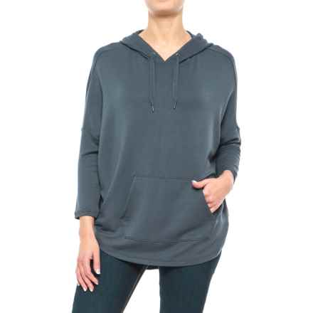 Stretch Rayon Hoodie Shirt - 3/4 Sleeve (For Women) in Grey - 2nds