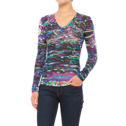 Stretch Rayon Printed V-Neck Shirt - Long Sleeve (For Women) in Multi Splash - 2nds