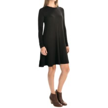 Stretch Rayon Shift Dress - Long Sleeve (For Women) in Black - 2nds
