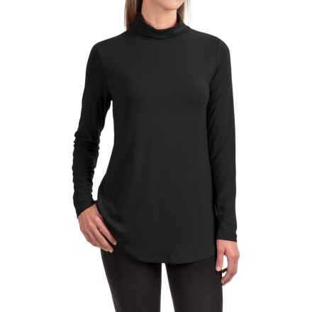 Stretch Rayon Turtleneck - Long Sleeve (For Women) in Black - 2nds
