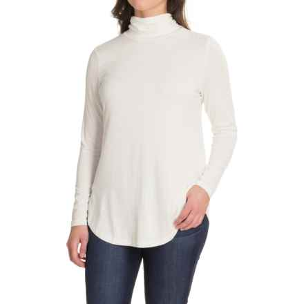 Stretch Rayon Turtleneck - Long Sleeve (For Women) in Ivory - 2nds