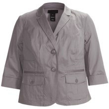 Stretch Sateen Jacket - 3/4 Sleeve (For Plus Size Women) in Grey - 2nds
