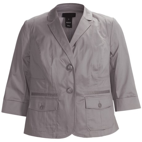 Stretch Sateen Jacket - 3/4 Sleeve (For Plus Size Women) in Grey