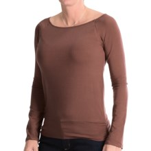 Stretch TENCEL® Boat Neck Shirt - Long Sleeve (For Women) in Brown - 2nds