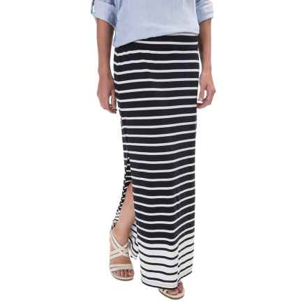 Stretch-TENCEL® Striped Maxi Skirt (For Women) in Navy - 2nds