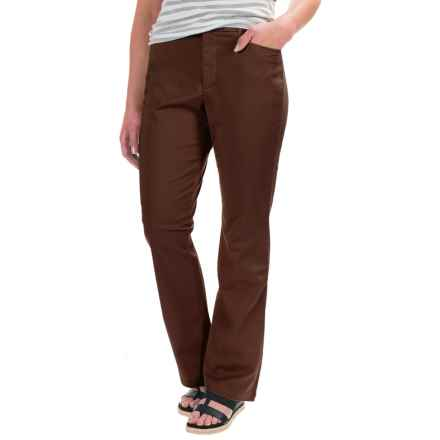 Stretch Twill Pants - Flat Front (For Women) in Brown - 2nds