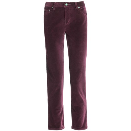 Stretch Velvet Jeans - 5-Pocket (For Women) in Burgundy
