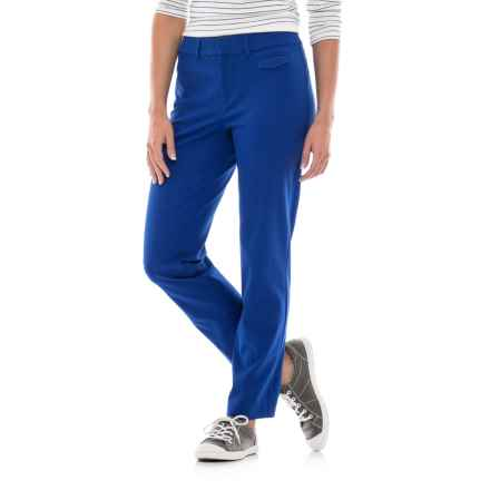 Stretch-Woven Cotton Pants (For Women) in Blue - 2nds