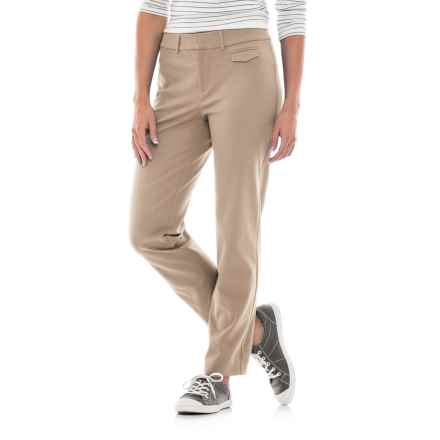 Stretch-Woven Cotton Pants (For Women) in Khaki - 2nds