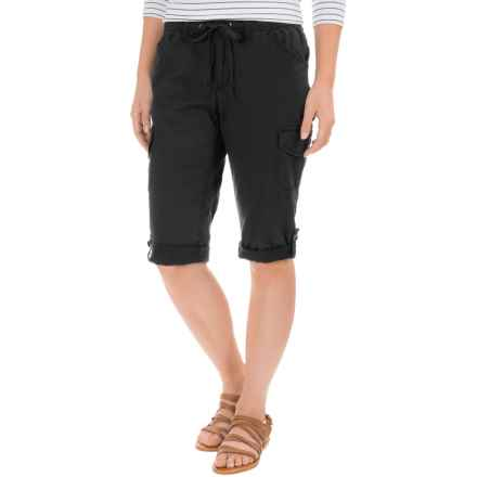 Stretch-Woven Drawstring Cargo Capris (For Women) in Black - 2nds