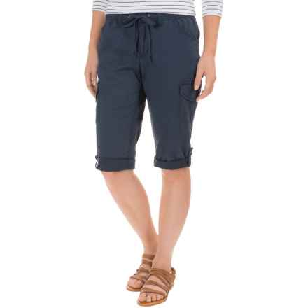 Stretch-Woven Drawstring Cargo Capris (For Women) in Navy - 2nds