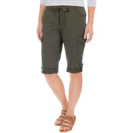 Stretch-Woven Drawstring Cargo Capris (For Women) in Olive - 2nds