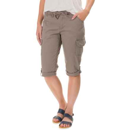 Stretch-Woven Drawstring Cargo Capris (For Women) in Sand - 2nds