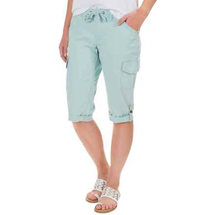 Stretch-Woven Drawstring Cargo Capris (For Women) in Sky Blue - 2nds