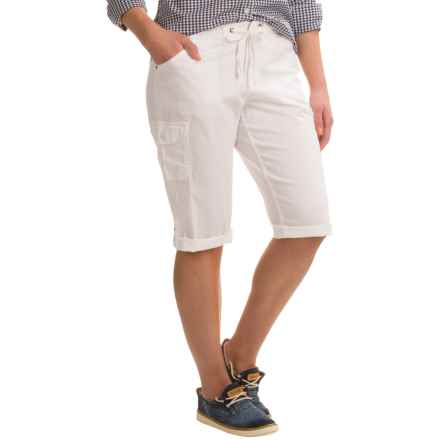 Stretch-Woven Drawstring Cargo Capris (For Women) in White - 2nds