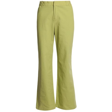 Stretch Woven Twill Bootcut Pants - Flat Front (For Women) in Green