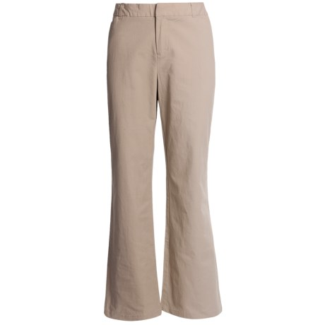 Stretch Woven Twill Bootcut Pants - Flat Front (For Women) in Khaki