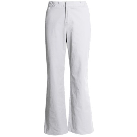 Stretch Woven Twill Bootcut Pants - Flat Front (For Women) in White