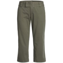 Stretch Woven Twill Capris - Flat Front (For Women) in Olive - 2nds