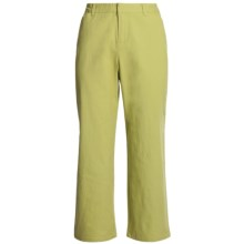 Stretch Woven Twill Crop Pants - Flat Front (For Women) in Green - 2nds