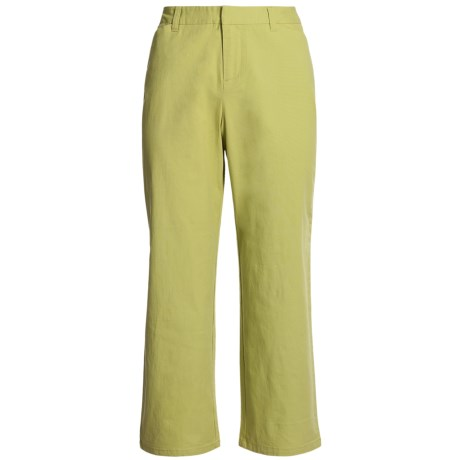 Stretch Woven Twill Crop Pants - Flat Front (For Women) in Green