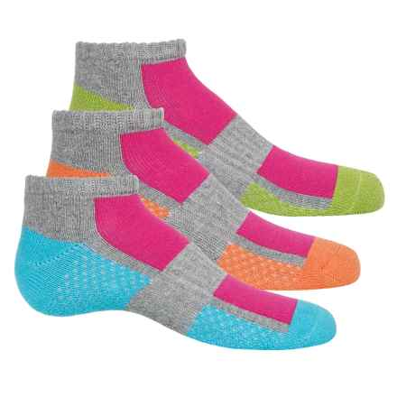 Stride Rite Half-Cushion Arch Support Socks - 3-Pack, Below the Ankle (For Girls) in Blue/Lime/Orange - Closeouts
