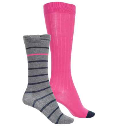 Stride Rite Knee-High Socks - 2-Pack, Over the Calf (For Girls) in Bow Brynley Grey - Closeouts