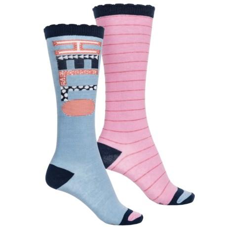 Stride Rite Knee-High Socks - 2-Pack, Over the Calf (For Girls) in Hello Hanna Blue