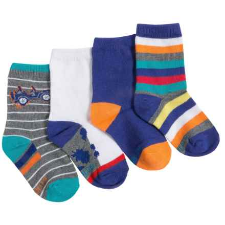 Stride Rite Lightweight Socks - 4-Pack, Crew (For Little Boys) in Grey/White/Blue/Multi - Closeouts